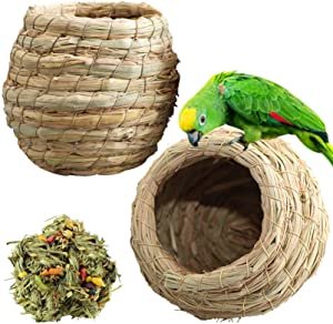 kathson Birdcages Straw Bird Nests Natural GrassWoven Birdhouse Resting Breeding Nesting Cages Hideaway Shelter for Finch Canary Budgie Lovebird Pearl Bird and Small Parrot