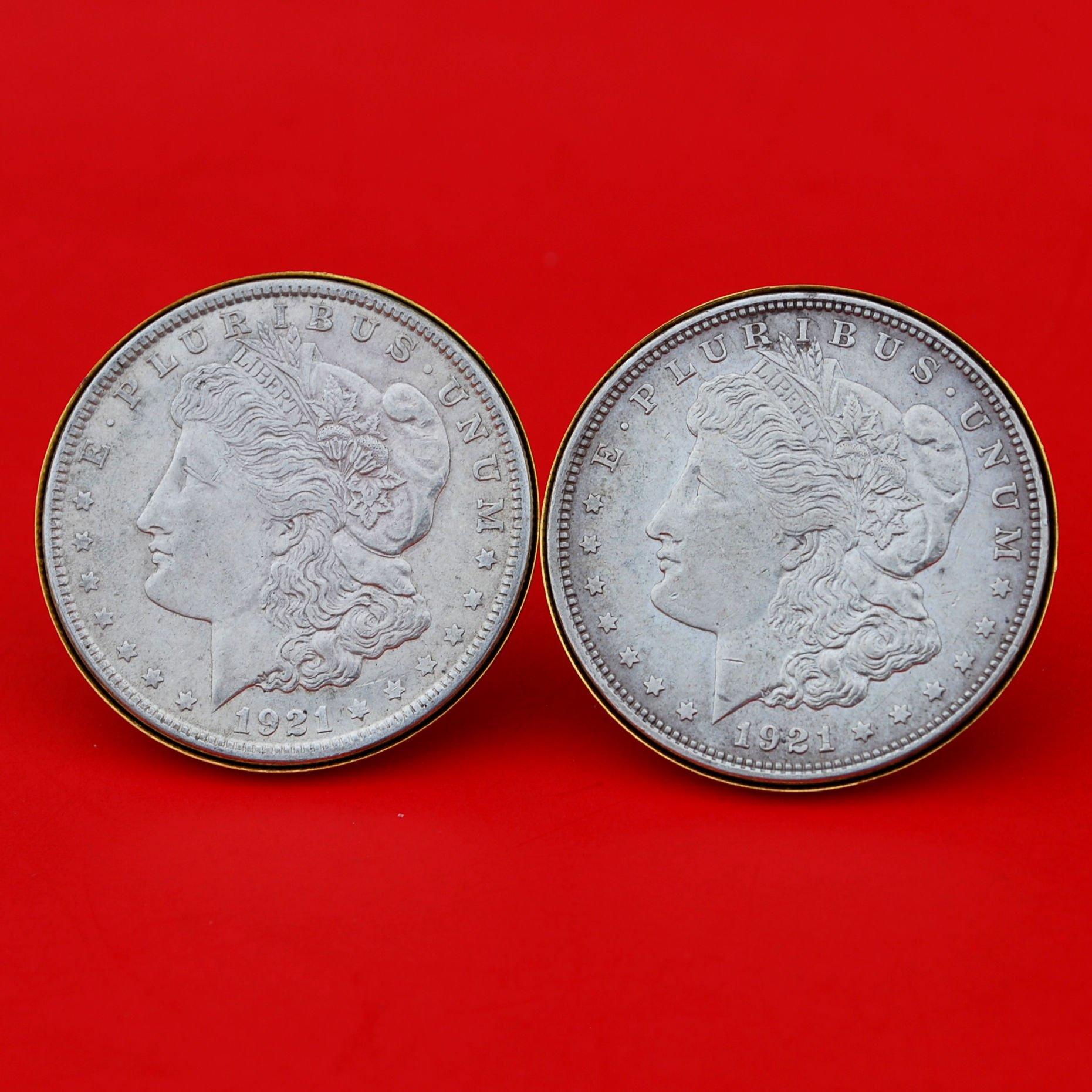 US 1921 Morgan Silver Dollar Gold Cufflinks NEW
