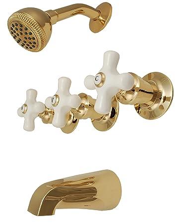3-handle Tub & Shower Faucet, Polish Brass Finish, Porcelain Handle ...