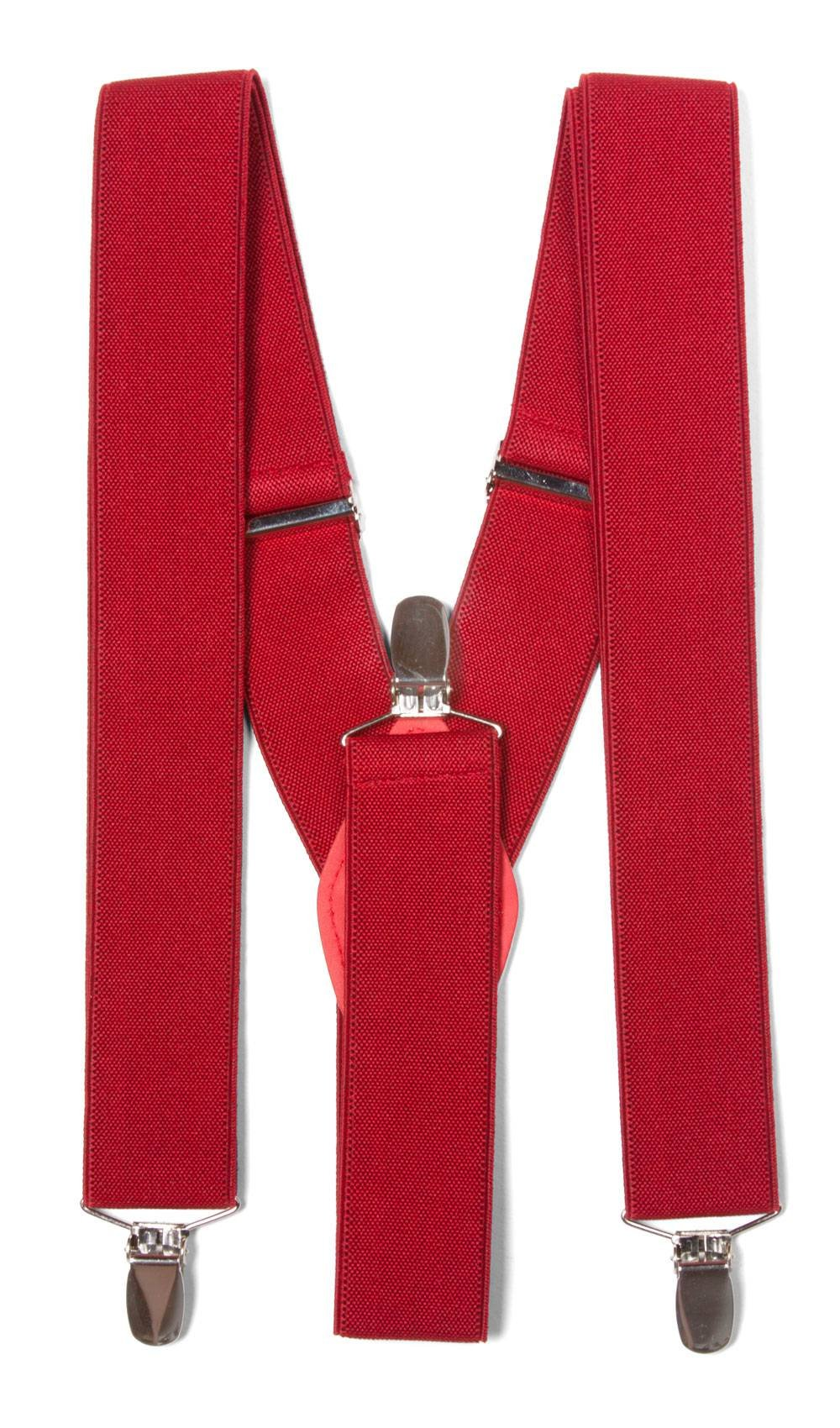 Gravity Threads Classic 1.3 Inch Wide Clip Suspenders, Red