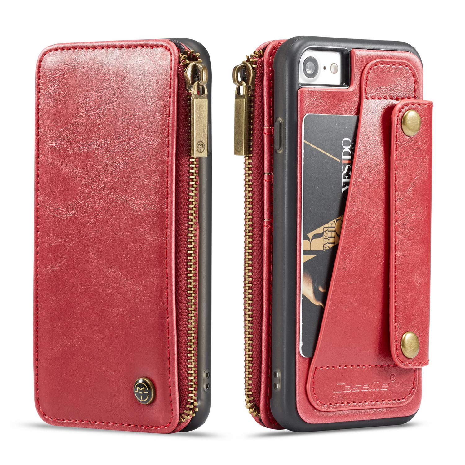 2 Money Pockets Black 4 Card Slot Kickstand Full Protection 4.7inch Anti-Scratch for Girls Boys Unisex one Zipper for Cash ID card,credit card Wallet Leather Case for Apple iPhone 8 iPhone 7
