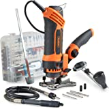 VonHaus 550W 230V Deluxe Rotary Multi Tool Spin Saw / JigSaw / Router Action with 287-Piece Accessory Kit - Multi-Purpose Power - DREMEL Compatible