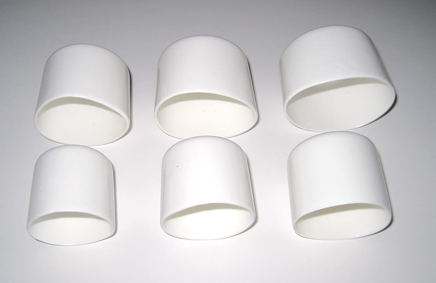 Pack white vinyl round pipe end cap cover rubber