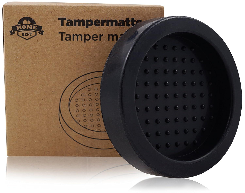 HOME DEPT Tampermatte, Tamperstation, Tamperablage Zum Espresso und Kaffee zubereiten mit Tamper und der Siebträger Espressomaschine. aus Silikon. Für 51mm bis 58mm Tamper. (Braun)