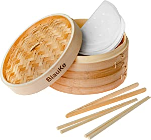 Bamboo Steamer Basket 10 Inch - Handmade Wooden Steamer with 2 Tier Baskets, Lid, 2 Pairs of Chopsticks, Tongs and 50 Liners - Kitchen Steamer Basket for Cooking Dumplings, Vegetables, Meat or Fish