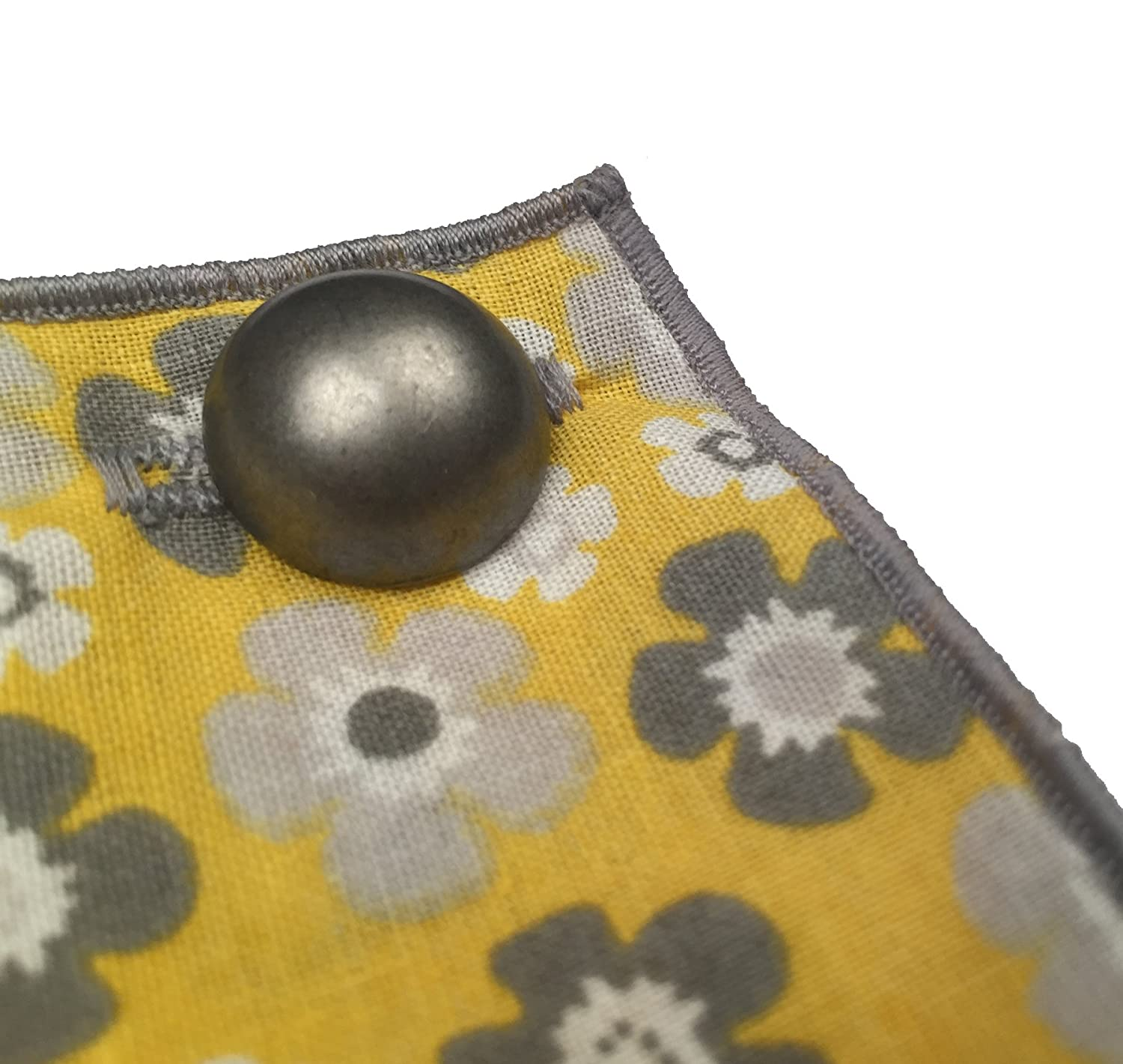 Yellow /& Gray Floral with Metal Button Mens Pocket Square by The Detailed Male