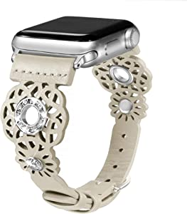 Secbolt Leather Bands Compatible with Apple Watch Band 38mm 40mm iWatch Series 6/5/4/3/2/1 SE, Soft Top Grain Genuine Leather with Rhinestones Wristband Strap Accessories Women, Beige Large