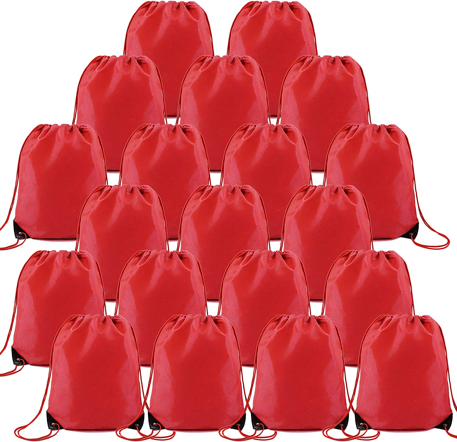 Red Drawstring Bags Bulk for Birthday Party Gym Sports Polyester Custom Multipurpose Cinch Sacks for Heat Vinyl and Tie Dye Pull String Sackpack Set of 20