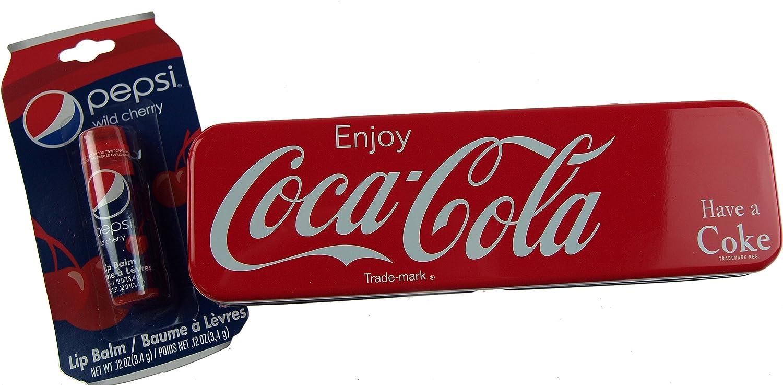 Coca Cola lata roja estuche escolar y Pepsi bálsamos labiales de cereza: Amazon.es: Oficina y papelería