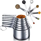 Qisebin Measuring Cups and Spoons Set. Measuring Cups 304(18/8) Stainless Steel, Heavy Duty 5 Measuring Spoons + 5 Measuring