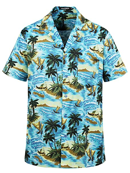 3862f758 Hopioneer Men's Tropical Flower Hawaiian Shirt Casual Short Sleeve Floral  Beach Holiday Party Aloha Regular Fit
