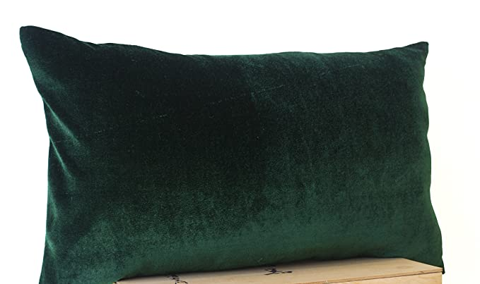 Amore Beaute Handcrafted Decorative Pillow Covers In Peach, Emerald Green, Navy Blue, Hot Pink, Chocolate Brown, Olive Green Velvet And Oatmeal Linen   12x20 Lumbar Pillow Cover (Emerald Green) by Amazon