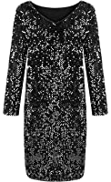 Yomoko Women's Sequin V-Neck Long Sleeve Bodycon Sparkle Party Sheath Mini Dress