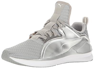 PUMA Women's Fierce Lace Metallic WN's Cross-Trainer Shoe, Silver White, ...
