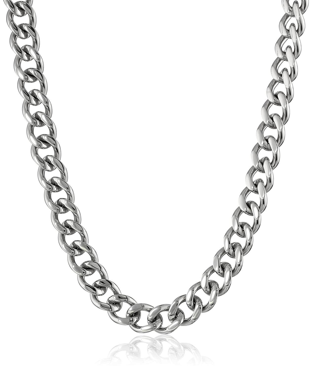 Mens stainless steel curb chain necklace 20 amazon mozeypictures Images