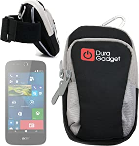 DURAGADGET Black & Grey Nylon Armband Carry Case - Suitable for use with Acer Z320 | Z330 | M320 & M330 Smartphones