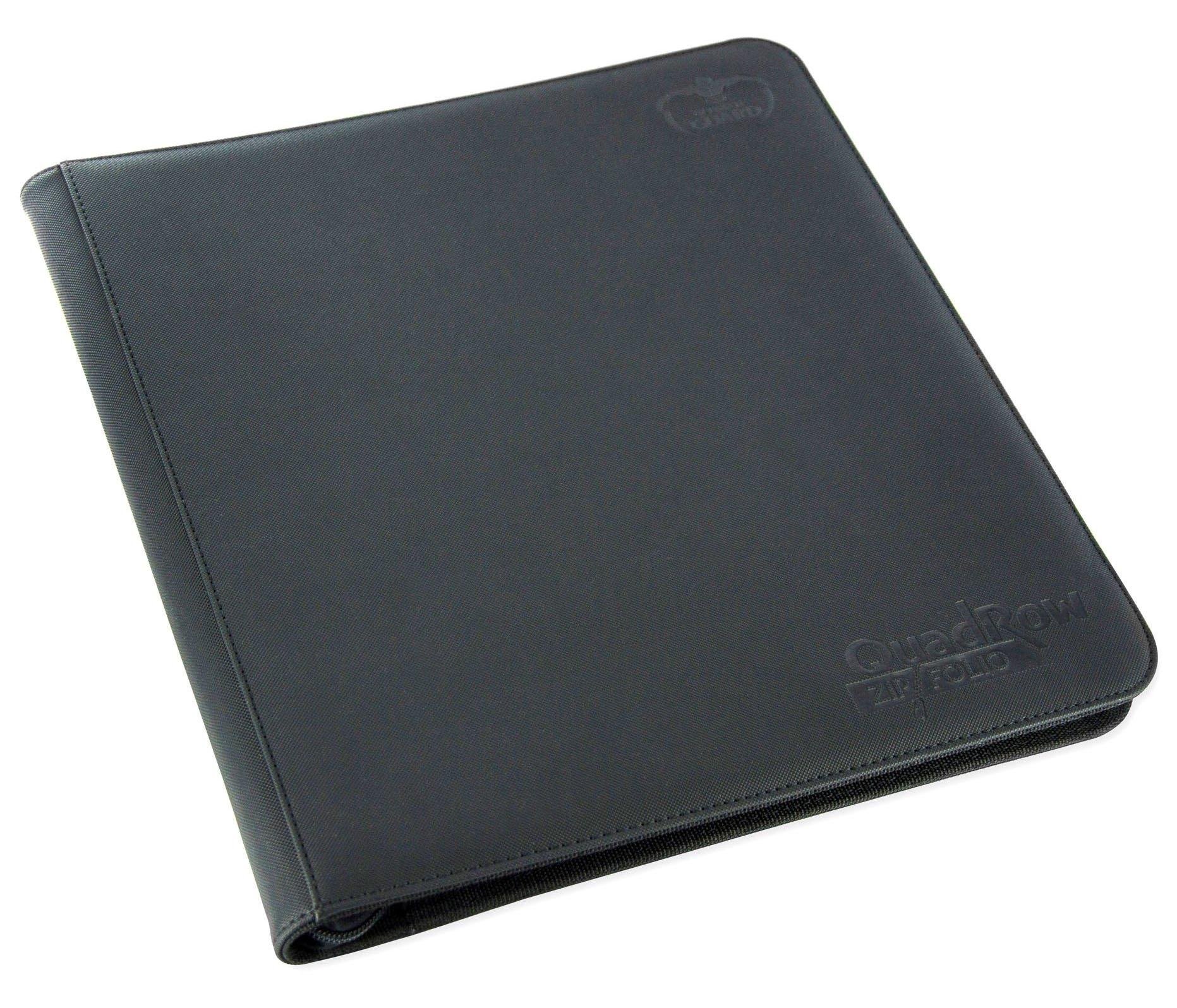 QuadRow 12-Pocket ZipFolio XenoSkin Black Card Game