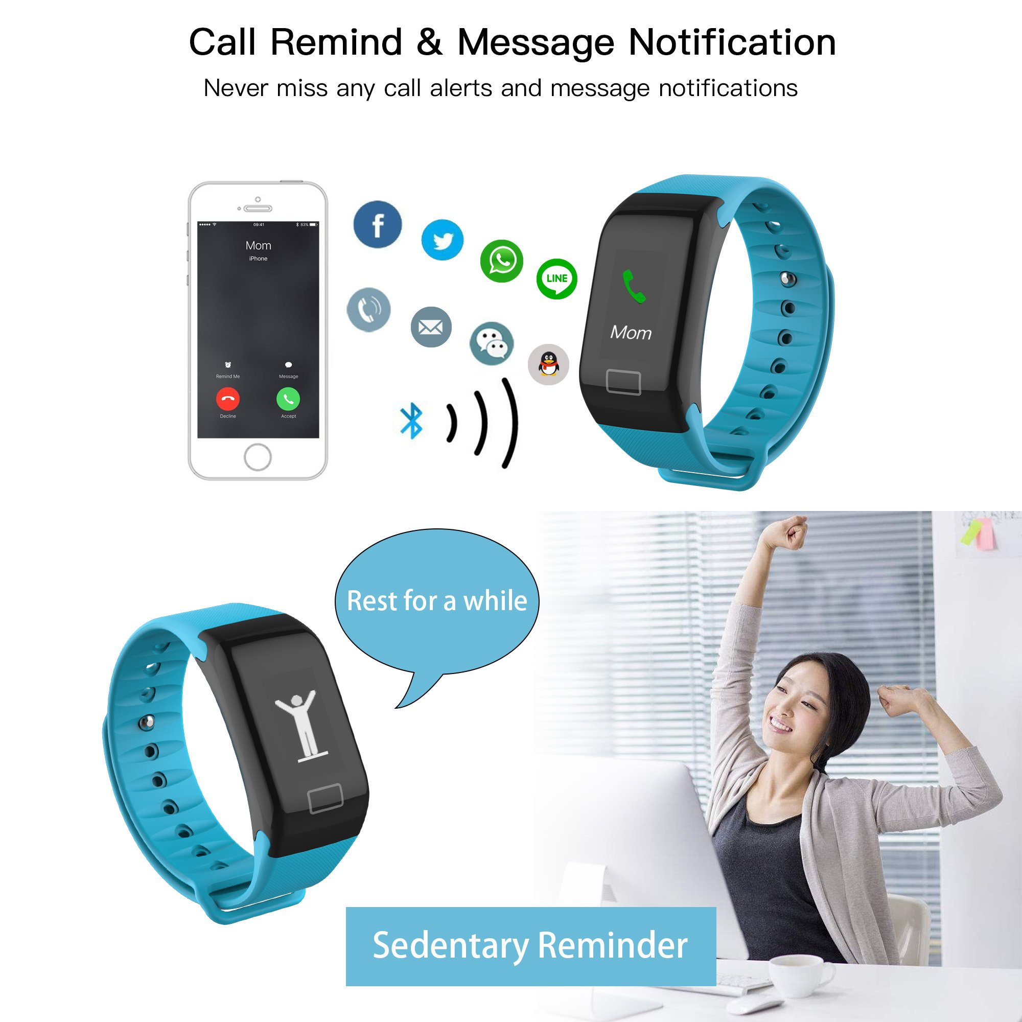 Cocofit Fitness Tracker Watch,IP67 Waterproof Smart Band,Activity Tracker,Smart Wristband with Heart Rate Monitor,Blood Pressure Monitor,Sleep Monitor,Step Calorie Distance Counter for Men Women Kids