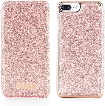 Ted Baker Funda Folio spritsie para Apple iPhone 8 Plus/7 Plus (Piel sintética, con Espejo, antigolpes, Ligero, Cierre magnético, Acabado paillettée, en Oro: Amazon.es: Electrónica