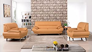 American Eagle Furniture 3 Piece Arcadia Collection Complete Genuine Leather Living Room Sofa Set, Yellow