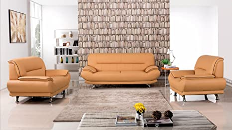 Groovy American Eagle Furniture 3 Piece Arcadia Collection Complete Genuine Leather Living Room Sofa Set Yellow Ocoug Best Dining Table And Chair Ideas Images Ocougorg