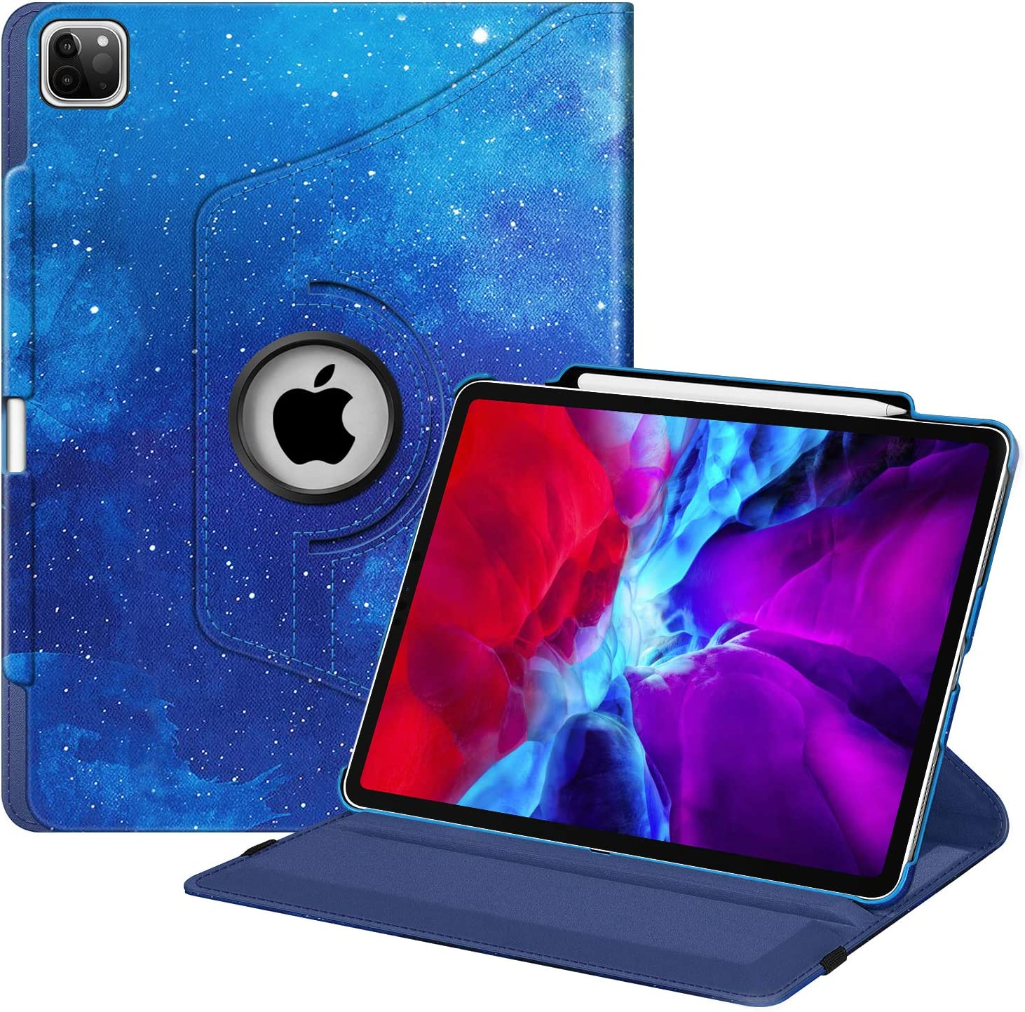 Fintie Rotating Case for iPad Pro 12.9 4th Generation 2020 & 3rd Gen 2018-360 Degree Rotating Smart Stand Cover w/Pencil Holder, Auto Sleep/Wake, Supports 2nd Gen Pencil Charging, Starry Sky
