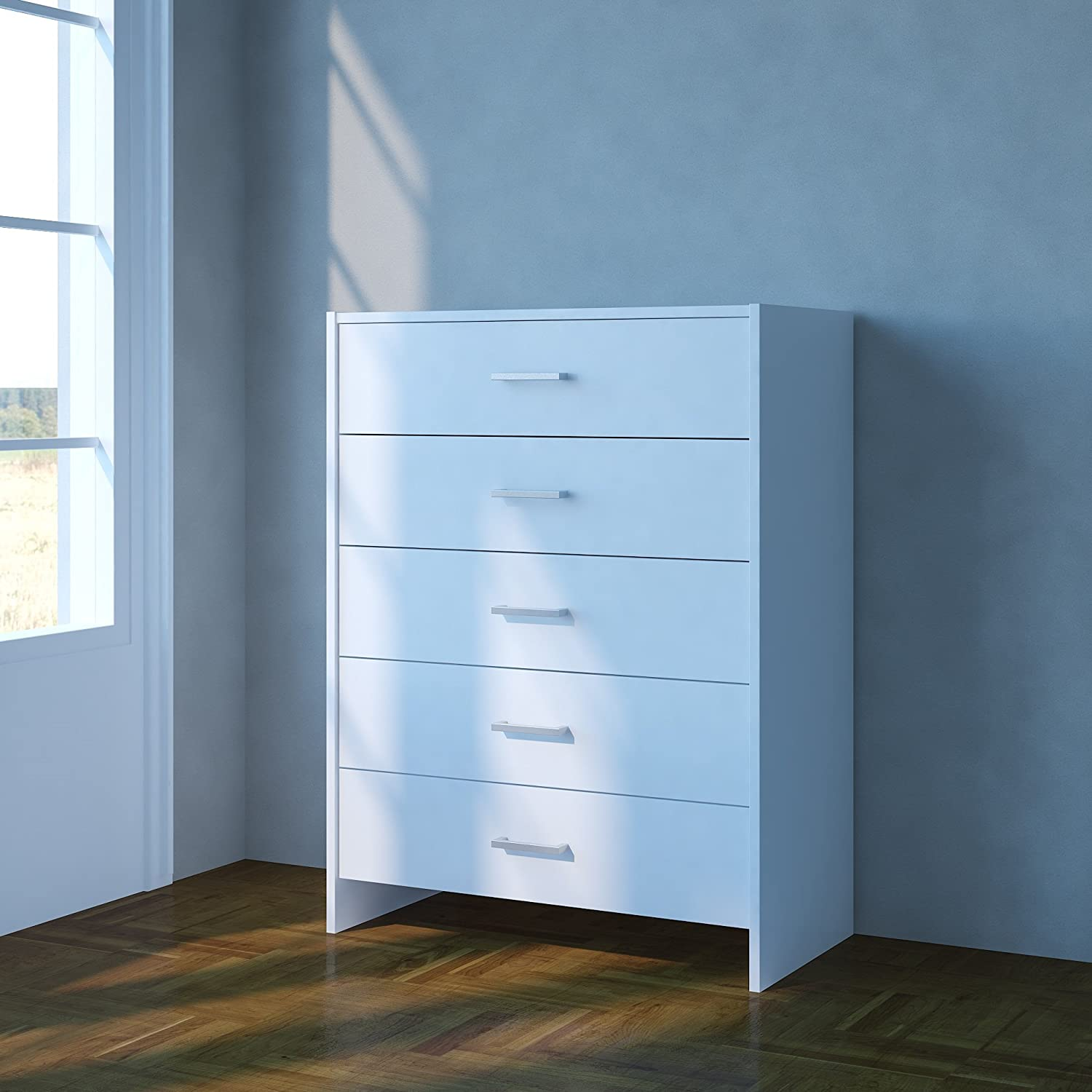 Home source chest of drawers white bedroom furniture 5 drawer silver handles metal runners amazon co uk kitchen home