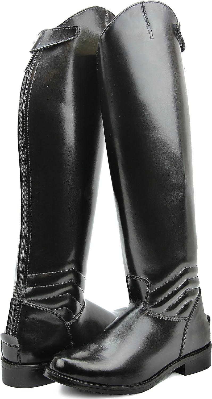 Hispar女性レディースエレガントドレスDressage Boots with Zipper英語Riding Equestrian ブラック 10.5 Wid Calf