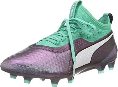 Puma One 1 IL Leather FG AG Mens Purple Athletic Soccer Cleats Shoes