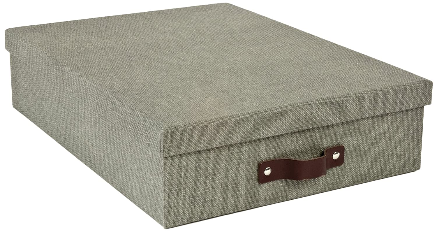 Bigso Oskar Canvas Paper Laminate Letter Storage Box, Grey