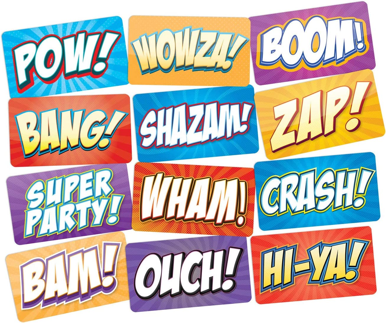 Superhero Party Photo Booth Props Signs 6pc Double Sided Props Set BAM POW ZAP WHAM Prop Signs for Action Comic Theme Birthday Supplies
