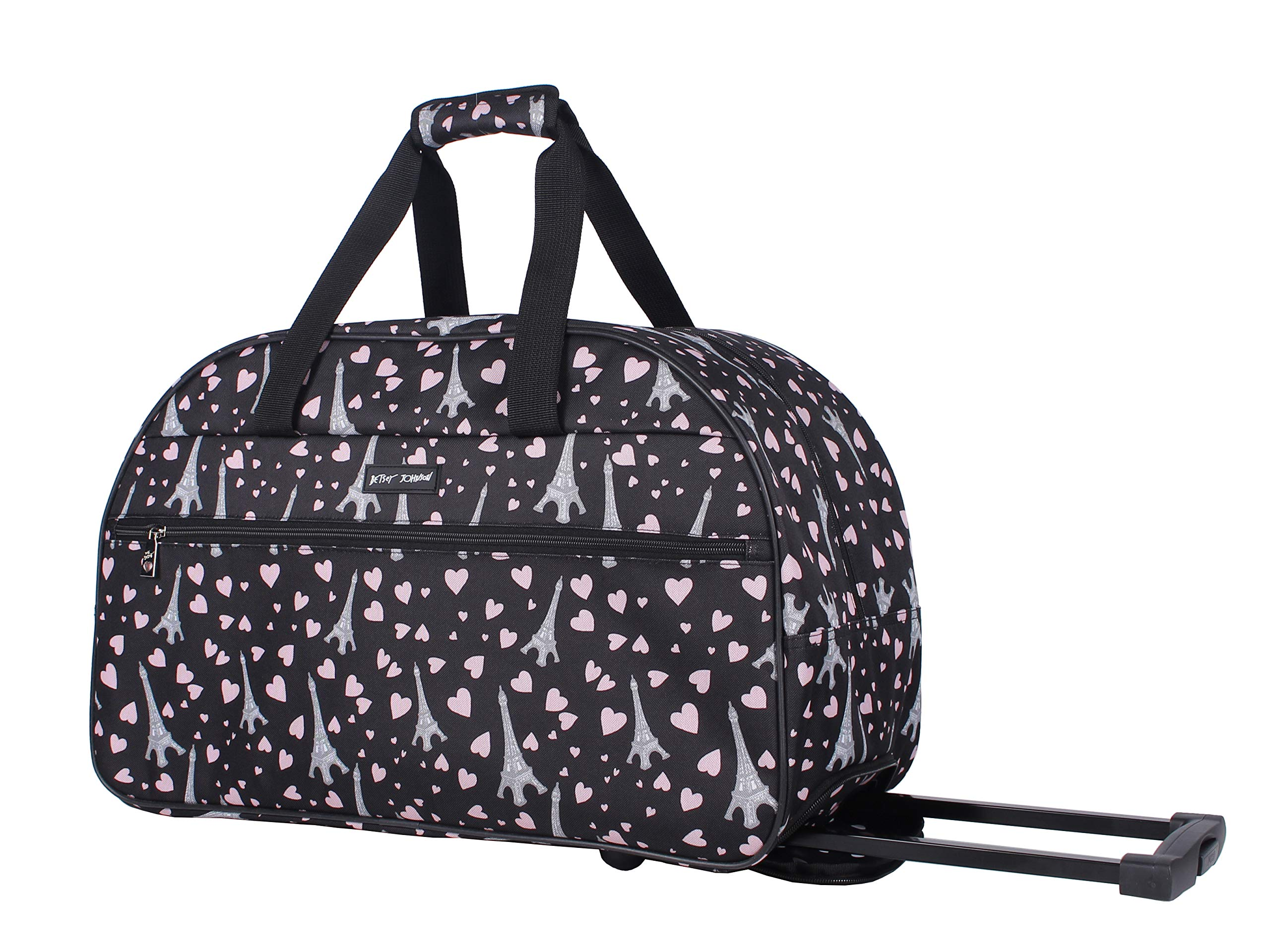 Betsey Johnson Luggage Designer Pattern Suitcase Wheeled Duffel Carry On Bag (Paris Love)