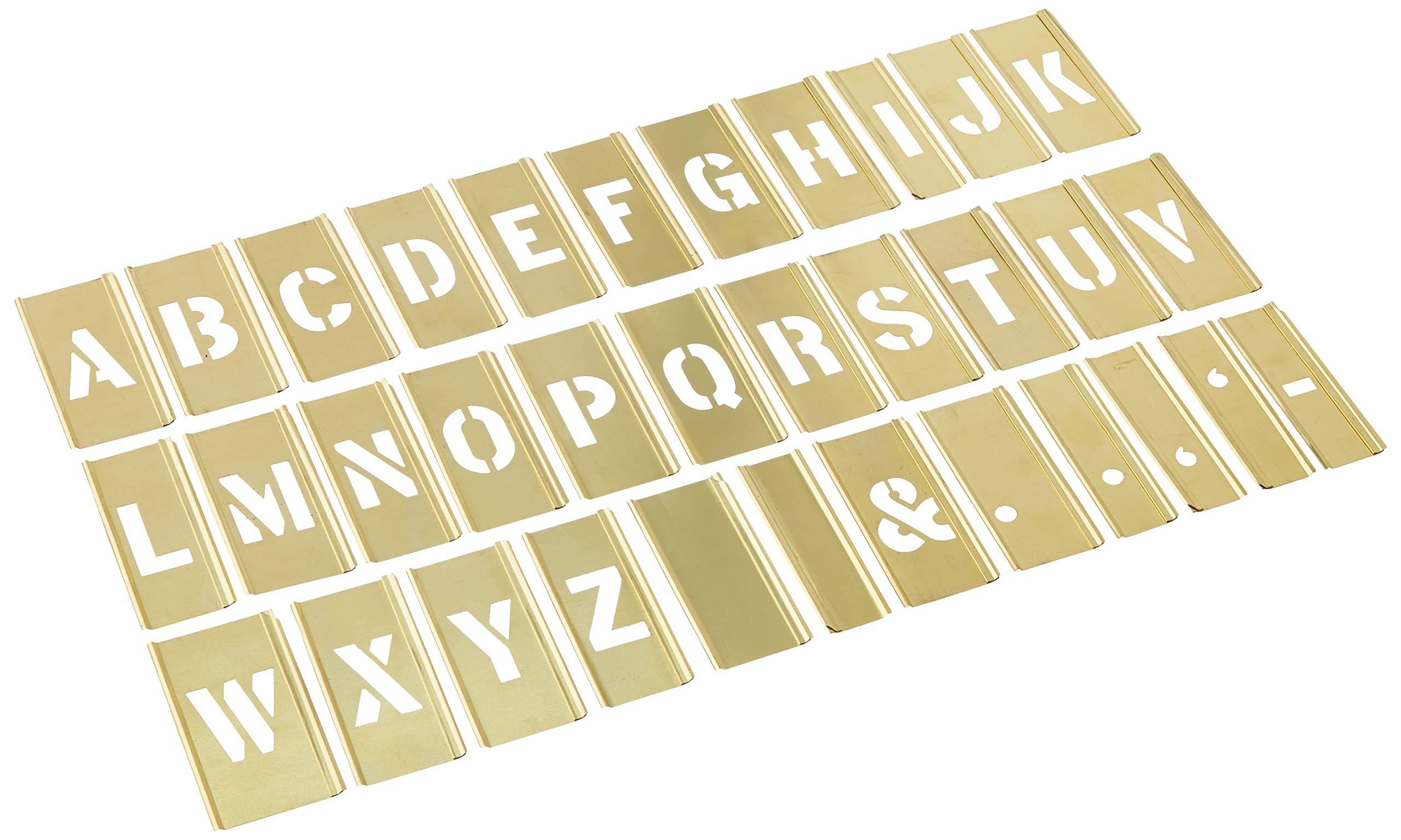CH Hanson 10028 33 Piece 1'' Brass Letter Interlocking Stencil Set by CH Hanson