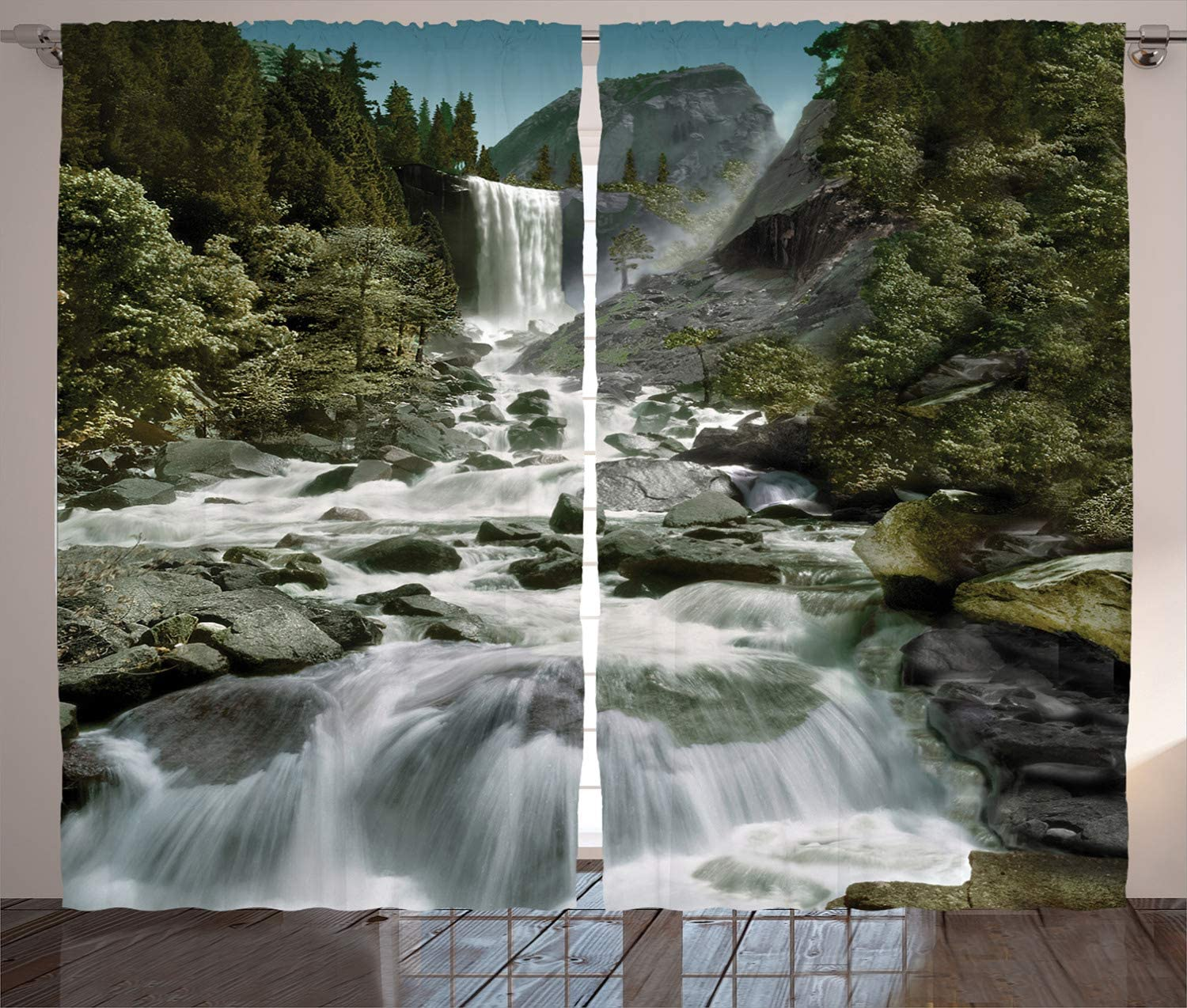 Amazon Com Lunarable Yosemite Curtains Vernal Falls Half Dome Mountain Waterfall Stream Tourist Attractions Wild Nature Living Room Bedroom Window Drapes 2 Panel Set 108 X 108 White Green Home Kitchen