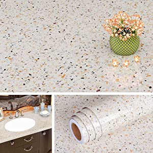Livelynine 15.8 x 394 Inch Contact Paper Granite Countertop Adhesive Wallpaper Peel and Stick Vinyl Countertop Covering Paper for Bathroom Kitchen Counter Top Waterproof Faux Granite Stickers