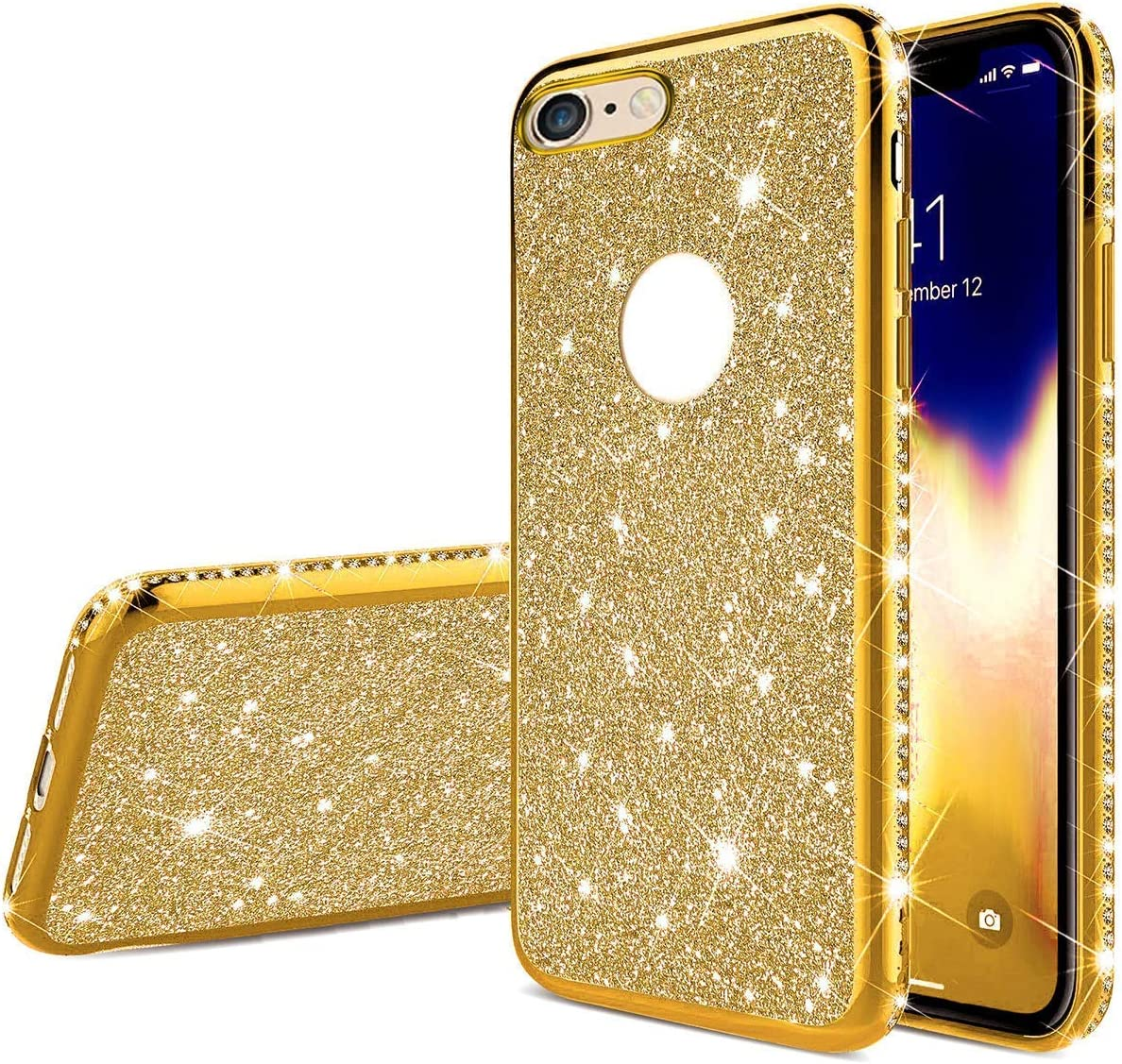 Herbests Compatible with iPhone 8 Plus//iPhone 7 Plus Case for Girls Glitter Diamond Rhinestone Luxury Sparkly Bling Electroplating Soft Clear Ultra-Thin Silicone Gel Rubber Back Cover,Black