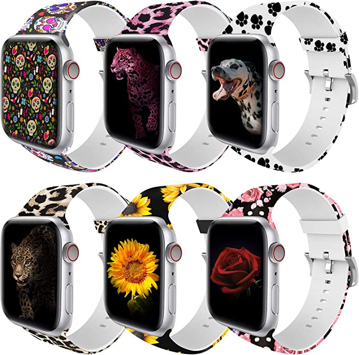 BMBMPT Compatible with Apple Watch Band 38mm 40mm 42mm 44mm Soft Silicone Adjustable Replacement Wristband for Apple Watch Series 4/3/2/1 6 Pack (Pattern Printed 6 Pack, for 38mm/40mm apple watch)