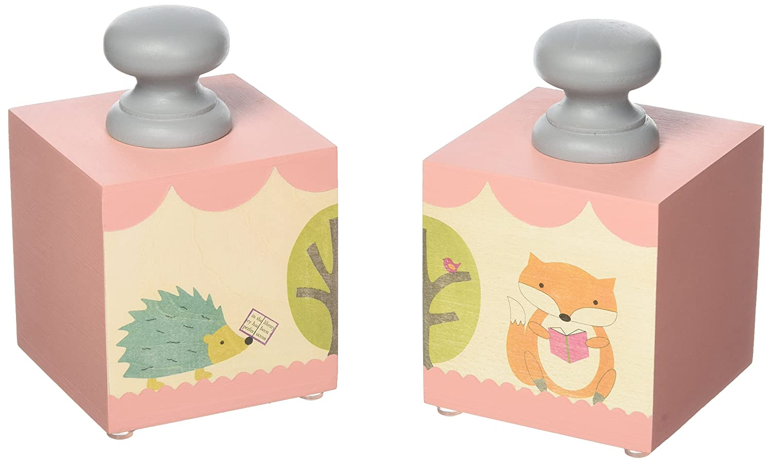 Tree by Kerri Lee Bookend Blocks, Fox/Hedgehog BKND BLKS PINK