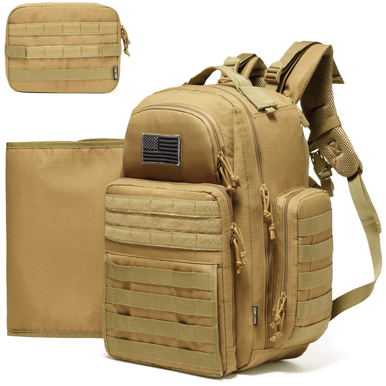 Jungle Brown Dinictis 40l Diaper Bag Backpack for Dad,Tactical Travel Baby Nappy Bags for Men,Baby Accessories for Daddy