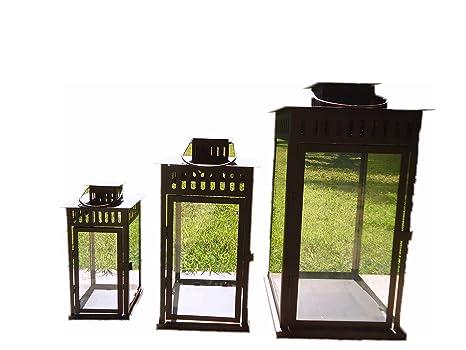 Portacandele Da Giardino : E randi lanterna portacandela 26x26x50cm; 19x19x38cm; 13x13x28 cm