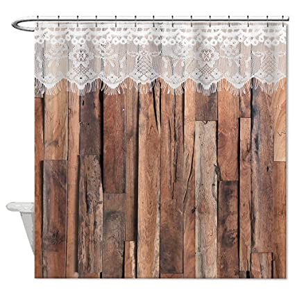 Country Barn Wood Lace Shower Curtain Mildew Proof And Waterproof Washable Printed Polyester Fabric