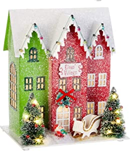 10.25-Inch Rustic Lighted North Pole Christmas Village Decoration – Tabletop Decorative Holiday Home Decor with Timer (Elves Village)