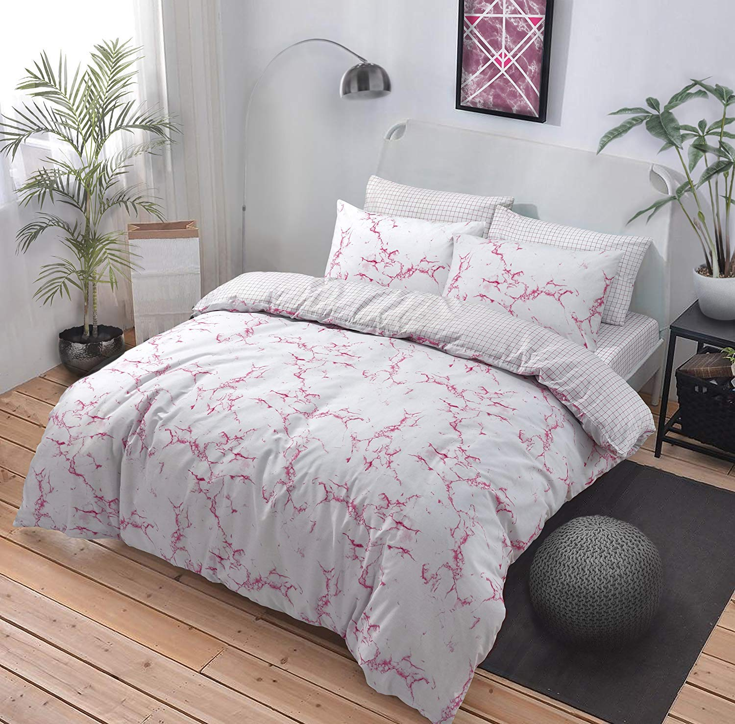 Articulate Duvet Cover Set - Marble Grey Design - For a Dashing Man - Includes Duvet Cover & Pillow Cases Only - Double Pieridae