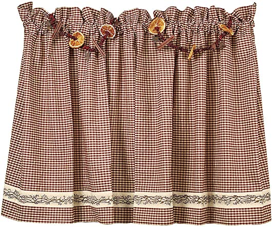 The Country House Collection Burgundy Berry Vine 36 Curtain Tiers