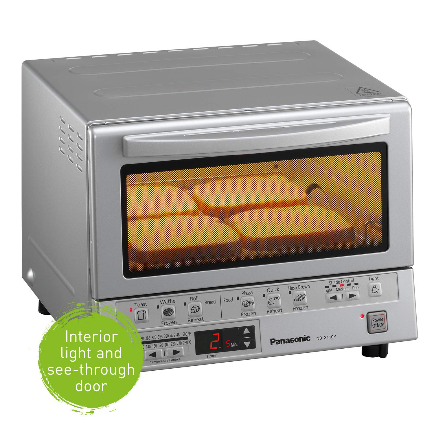 White NB-G110P-W Panasonic FlashXpress Compact Toaster Oven with Double Infrared Heating 4 Slice Countertop Toaster Oven Crumb Tray and 1300 Watts of Cooking Power