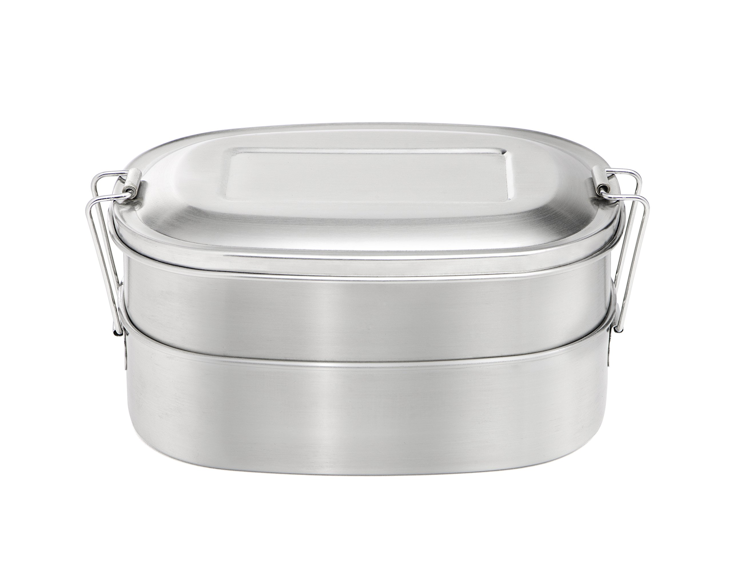 +Steel Double Lunch Box 32oz, 18/8 Stainless Steel Kids Lunch Box & Bento Food Container
