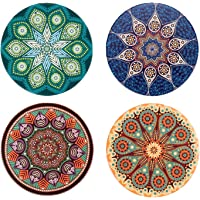 Absorbent Ceramic Coaster with Cork Base, JmYo Stone Coasters Set of 4 Suitable for Kinds of Mugs and Drinks, Attractive Design as Decoration Or Gift