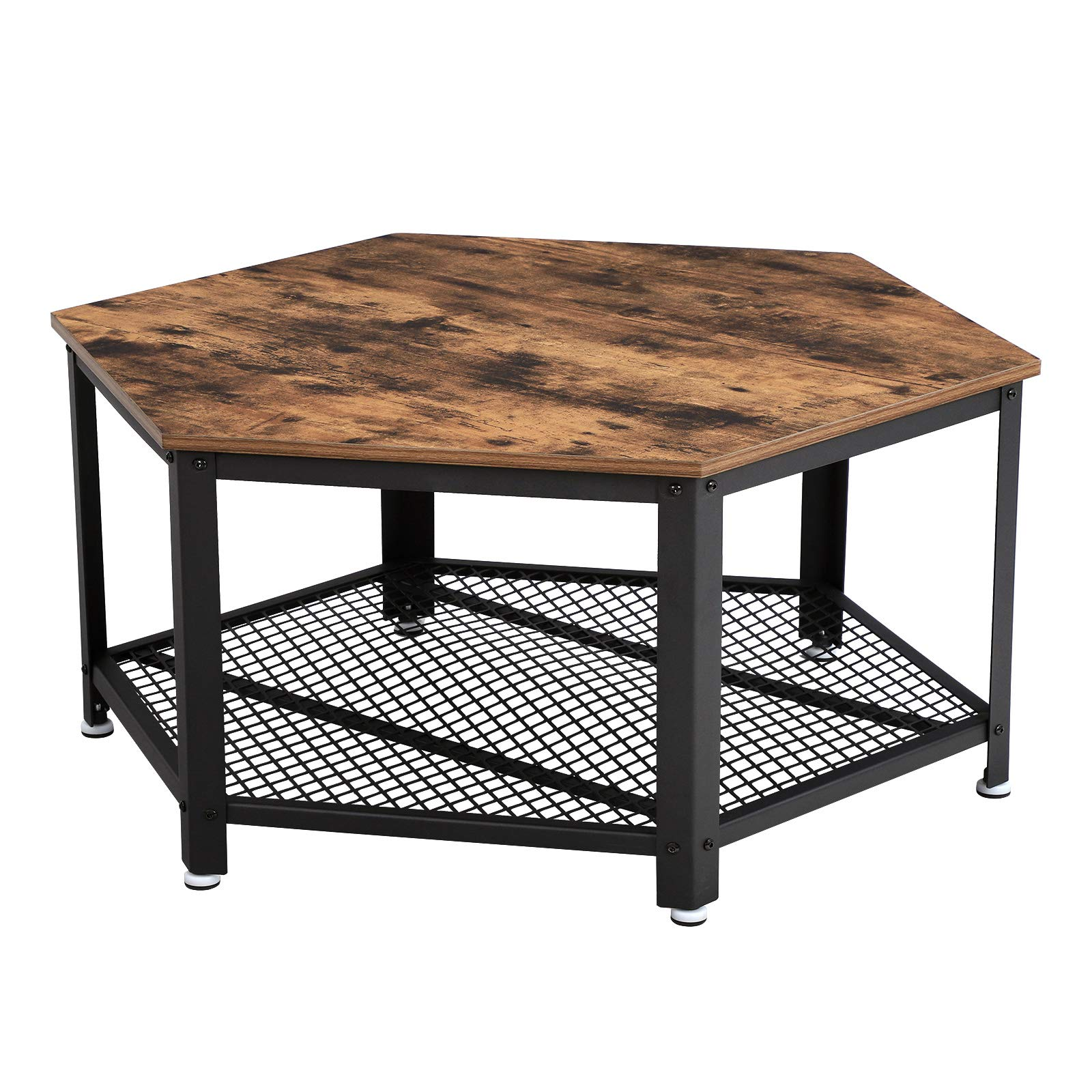 VASAGLE Industrial Coffee Table, Hexagonal Wooden Table, Stable Metal Frame and Mesh Shelf, Rustic Brown by VASAGLE