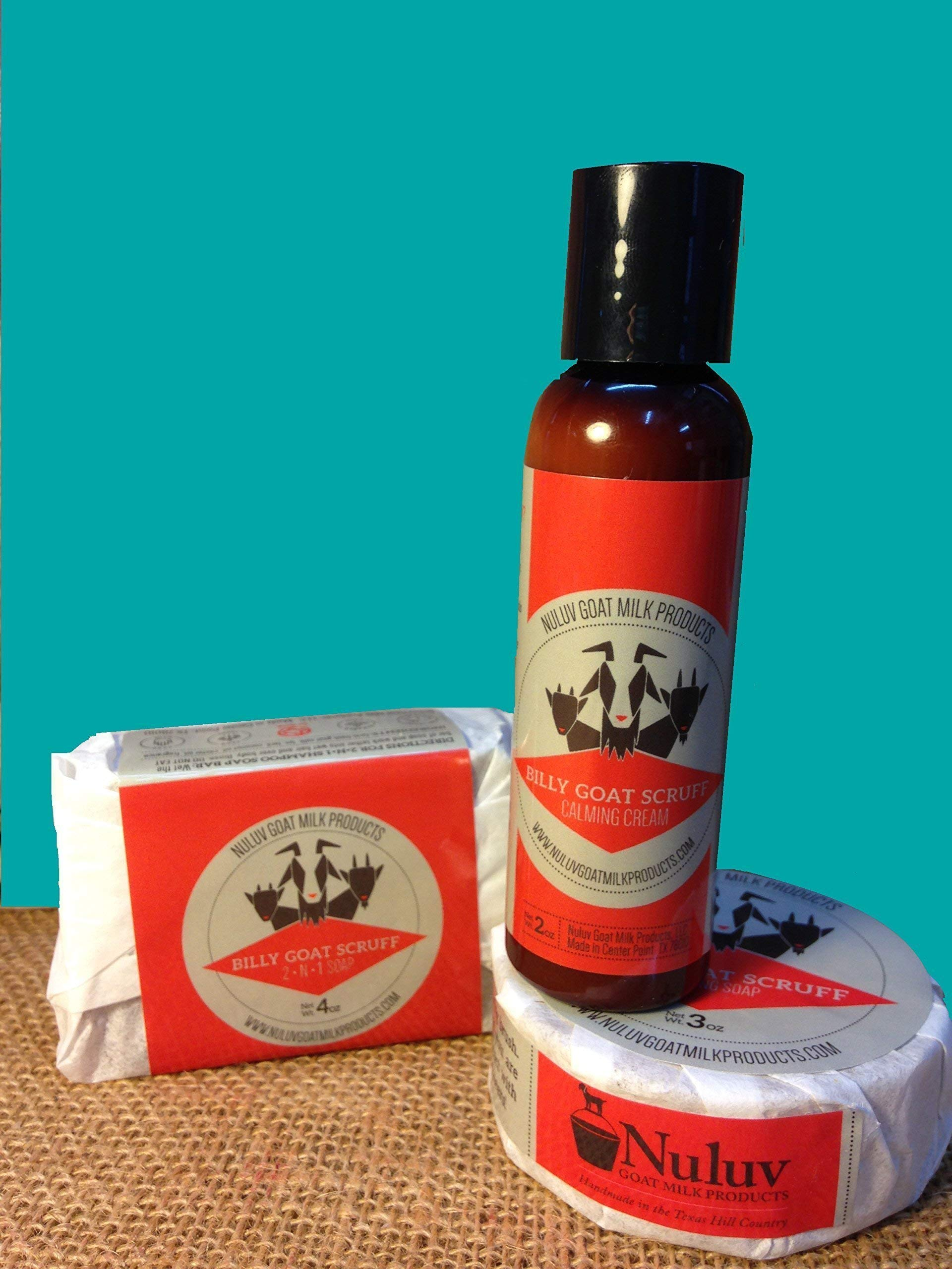 Billy Goat Scruff Goat Milk Shave Set Shave Soap, Aftershave Lotion, 2-N-1 Shampoo and Body Bar