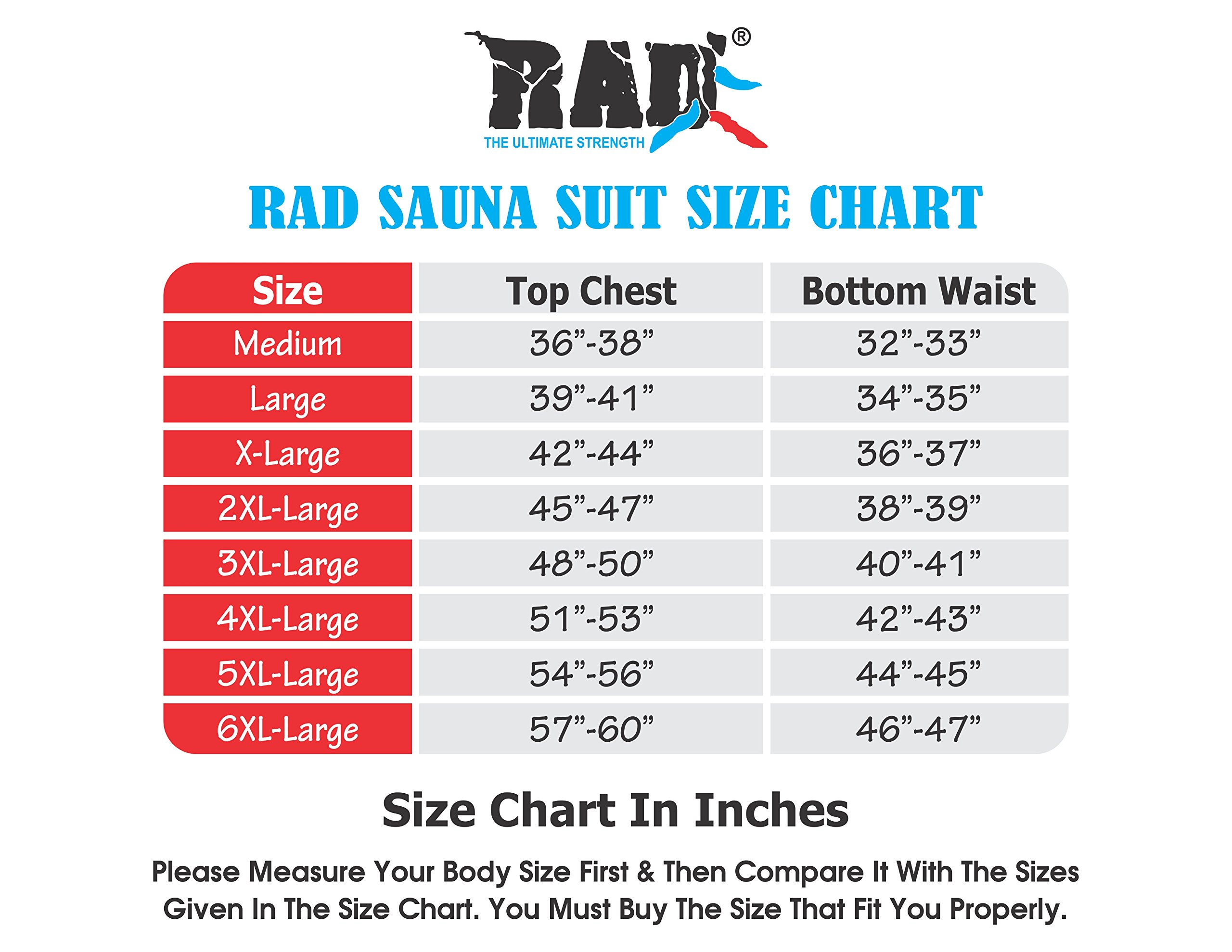 RAD  Sweat Suit Sauna Exercise Tracksuit Fitness Weight Loss Slimming Boxing Gym Belt (Red, 5XL)